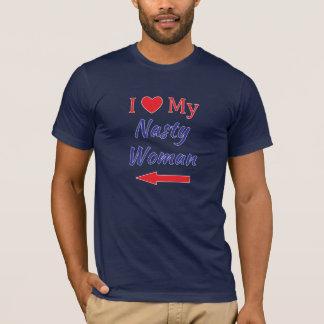 I Liebe mein ekliges Frauen-rechter Pfeil-rotes T-Shirt