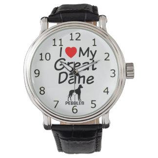 I Liebe mein großer Däne-Hund Armbanduhr