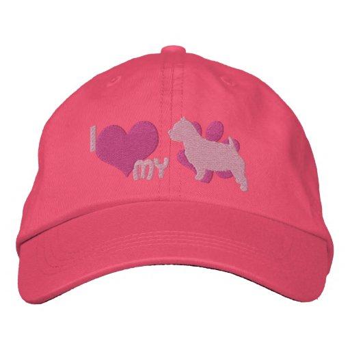I Liebe mein Norwich-Terrier-gestickter Hut (Rosa) Bestickte Baseballcaps