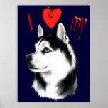 I Liebe mein sibirischer Schlittenhund-Plakat Poster