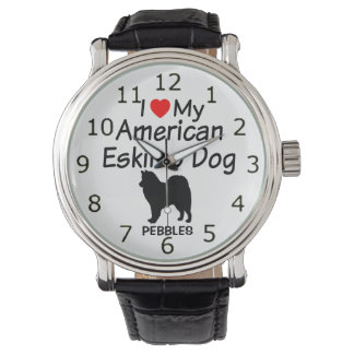 I Liebe meine amerikanische Eskimohundeuhr Uhr
