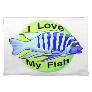 I Liebe meine Fische Stofftischset
