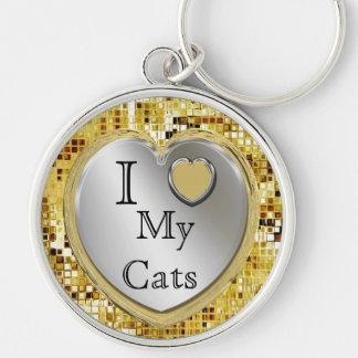 I Liebe meine Katzen oder? Herz Keychain Schlüsselanhänger