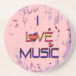 I Liebe-Musik mit Herzen Getränkeuntersetzer