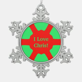 I Liebe (Namens) Chris! Rotes Gree Schneeflocken Zinn-Ornament