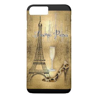 I Liebe-Paris-Goldblatt-Eiffel-Turm-Mode-Schuhe iPhone 8 Plus/7 Plus Hülle