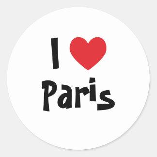 I Liebe Paris Runder Aufkleber