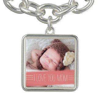 I Liebe Sie korallenrotes Fahnen-Foto der Mamma-  Charm Armbänder