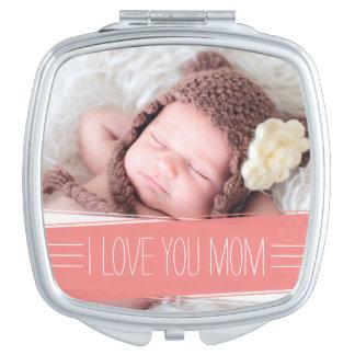I Liebe Sie korallenrotes Fahnen-Foto der Mamma-  Taschenspiegel