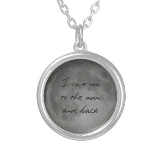I Liebe Sie, Mond und Rückseiten-Vollmond Halskette Mit Rundem Anhänger