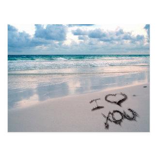 I Liebe Sie, Sand-Schreiben auf dem Strand Postkarten