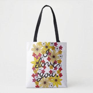 I Liebe Sie Typografie mit gelben Blumen