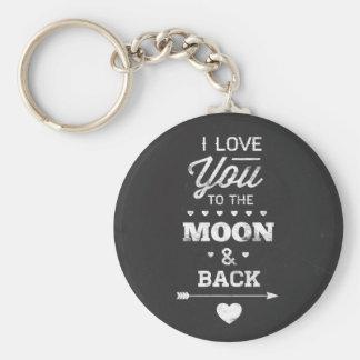 I Liebe Sie zum Mond und zur Rückseite Standard Runder Schlüsselanhänger