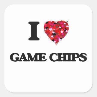 I Liebe-Spiel-Chips Quadrat-Aufkleber