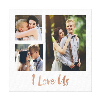 I Liebe wir Rosen-Goldskript-Hochzeits-Leinwand Leinwanddruck