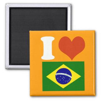 I love Brasilien Quadratischer Magnet