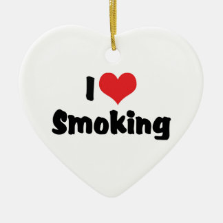 I rauchendes Liebe-Herz - Tabak-Zigaretten-Raucher Keramik Ornament