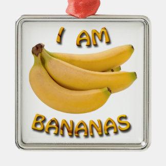 Ich bin Bananen-quadratische Silbernes Ornament