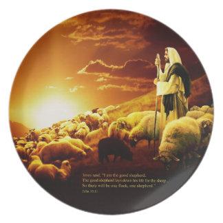 """""""Ich bin der gute Hirte. John-10:11 Platte Flacher Teller"""