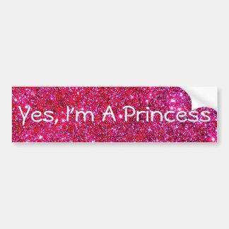 Ich bin ein niedlicher Spaß Prinzessin-Pink Autoaufkleber