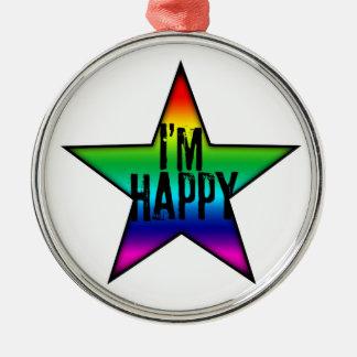 Ich bin glücklicher homosexueller lesbischer silbernes ornament