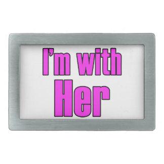 Ich bin mit ihr im Rosa! Rechteckige Gürtelschnalle