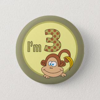 Ich bin niedlicher Affe 3 mit Bananen-Party-Knopf Runder Button 5,1 Cm