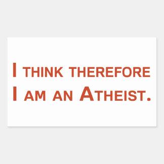 Ich denke, dass deshalb ich ein Atheist bin Rechteckiger Aufkleber