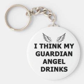 Ich denke meine Schutzengel-Getränke Standard Runder Schlüsselanhänger