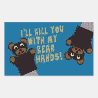 Ich erhalte Sie mit meinen Bärn-Händen Rechteckiger Aufkleber