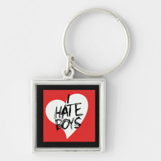 Ich hasse Jungen Silberfarbener Quadratischer Schlüsselanhänger