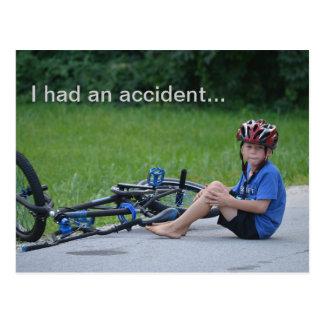 Ich hatte einen Unfall. Fahrrad-Abbruchs-Postkarte Postkarte