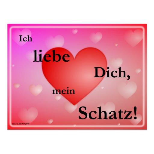 Ich Liebe Dich Mein Schatz Postkarte | Zazzle
