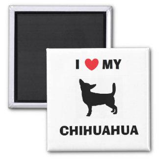"""""""Ich Liebe mein Chihuahua-"""" Magnet Quadratischer Magnet"""