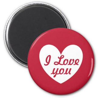 """""""Ich Liebe Sie"""" weißes Herz auf Rot Runder Magnet 5,7 Cm"""