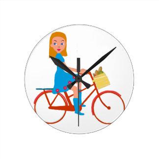Ich mag mein Fahrrad reiten Runde Wanduhr