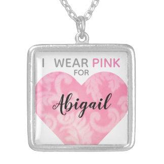 Ich trage rosa Herz-Halskette, das Quadrat, Versilberte Kette