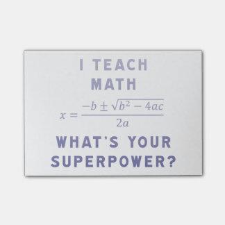 Ich unterrichte Mathe, was Ihre Supermacht ist? Post-it Haftnotiz