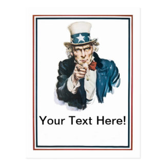 Ich will, das Sie, fertigen Uncle Sam Ihren Text Postkarte