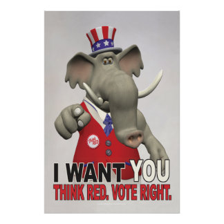 Ich will Sie - denken Sie rotes Abstimmungs-Recht Poster