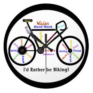 Ich würde vielmehr, Fahrräder mit motivierend Wort Große Wanduhr