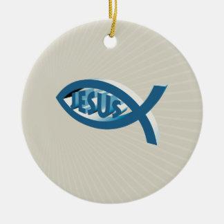 Ichthus - christliche Verzierung Rundes Keramik Ornament