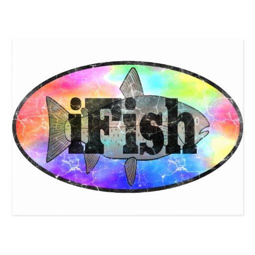 iFish Regenbogen-Entwurf Postkarte