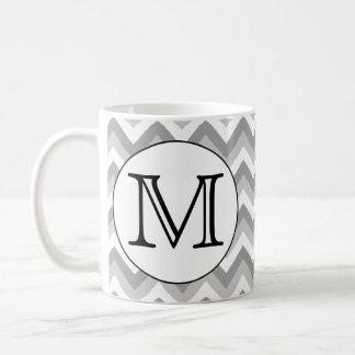 Ihr Brief. Graues Zickzack-Muster-Monogramm Kaffeetasse