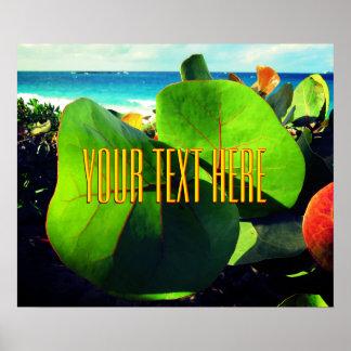 Ihr eigener Text über einer tropischen Ansicht Poster