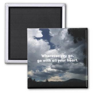 Ihr ganzes Herz - Konfuziuszitat-und -natur-Foto Quadratischer Magnet