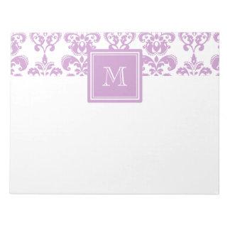 Ihr Monogramm, lila Damast-Muster 2 Notizblöcke