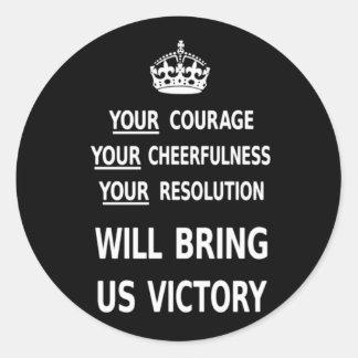 Ihr Mut holt uns Sieg weißer niedriger Preis Runder Aufkleber