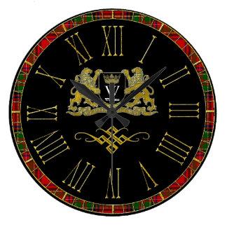 Ihr Wappen Monogramm und Farbe Große Wanduhr