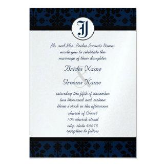 Ihre Foto-Marine u. schwarze Damast-Hochzeit lädt 12,7 X 17,8 Cm Einladungskarte